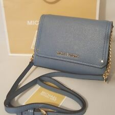 Michael Kors Hayes Small Clutch Crossbody Bag In Leather. Denim Color