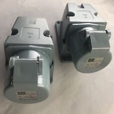 2 X MK Electric 16A 3h 2P+E 50 -250V Grey Wall Mouted Commando Sockets LN9203