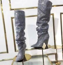 Womens Glitter leather Embellished Rhinestone Crystal Covered Knee High Boots Sz