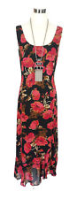 COUNTRY ROAD Dress - Vintage 1990s Midi Floral Ruffle Black Pink Brown - 6/8