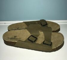 NEW American Eagle Outfitters Double Buckle Slide Sandals Size 11 Suede