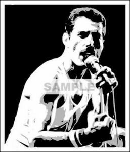 FREDDIE MERCURY POSTER BLACK AND WHITE CLASSIC MUSIC LEGEND PRINT-A3 A4 SIZE