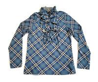 Ralph Lauren Jeans Co. Ruffle Neck Blouse Shirt Blue Plaid 100% Cotton Size S