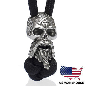 Cool CELTIC BEARDED SKULL Bead for Paracord Projects Knife Lanyard Beads Charms