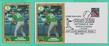 1998 EVENT COVER W/1987 TOPPS #366 MARK MCGWIRE - BUSCH STADIUM + MINT #366 CARD