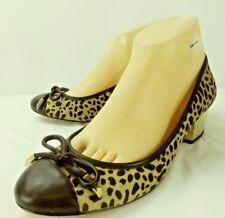 Ivanka Trump Wos Shoes US 8M Cheetah pony Hair Black Leather Bow Gold Heels 1488