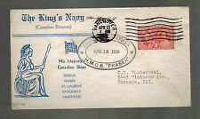 1938 Canada Vancouver Cover to USA King's Navy HMCS Fraser Cancel