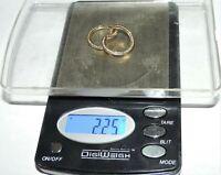 "10 K Gold Sparkling 2 mm CZ Hoop Earrings 2 Ct 2.2 Grams 7/8"" Wear Or Scrap"