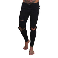 8fd8a7394202 Mens Boys Skinny Jeans Ripped Slim Fit Stretch Denim Designer Frayed Biker  Pants