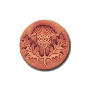 """RYCRAFT 2"""" Round Cookie Stamp with Handle & Recipe Booklet-SCOTTISH THISTLE"""