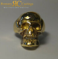 Highly Polished Skull Ring cast in 9ct Solid Gold 27 grams Fully Hallmarked