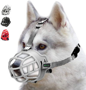 ILEPARK Dog Muzzle, Soft Silicone Basket Muzzle for Dogs, Breathable Mouth Cover