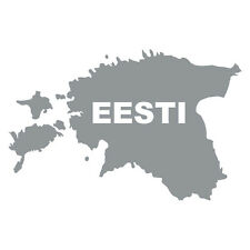 "Grey Estonia shape Car Van Window Bumper Souvenir Sticker with writing ""EESTI"""