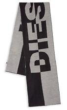 """DIESEL Men's 'Roslia Full Logo Color Block' Knit Scarf 66"""" x 12"""" Black/Grey NWT!"""