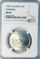 1996-S Olympics Swimming Commemorative Half Dollar - NGC MS-69- Mint State 69
