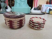 2009 Longaberger Red Peppermint Twist Basket w/Sealed Lid & 4 Pottery Coasters