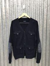 "Polo Ralph Lauren Navy Merino Wool Denim Elbow Patch Pockets Cardigan RRL XL 46"""