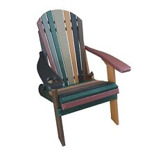 Striped Earth Tone Style Folding Poly Fanback Adirondack Chair - 1 Cup Holder