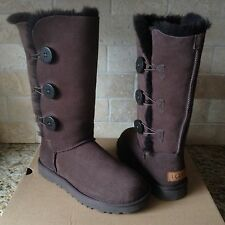 UGG BAILEY BUTTON TRIPLET TRIPLE II CHOCOLATE BROWN TALL BOOTS SIZE US 11 WOMENS