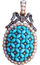Victorian Look 925 Silver Pendant 2.20ct Rose Cut Diamond Turquoise Pearl