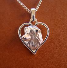 Small Sterling Silver Australian Shepherd Head Study On A Heart Frame