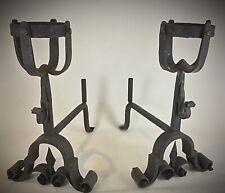 Importants (20kg) Chenets anciens, Landiers Fer forgé - XIXe style médiéval