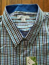 Big Men's Check Plaid Long Sleeve Dress Shirt by Kings' Court Size 22 35/36 Tall