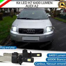KIT LED AUDI A2 H7 6000K BIANCO 6400 LUMEN XENON XENO NO ERROR ANABBAGLIANTI