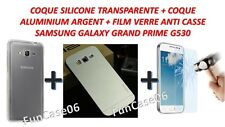 Film Verre Coque Silicone Coque Aluminium Argent Samsung Galaxy Grand Prime G530