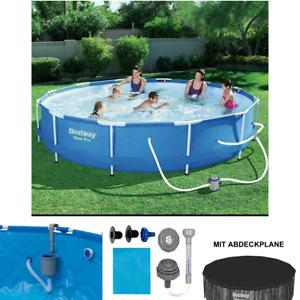 BESTWAY STEEL PRO 366 x 84cm Pool Schwimmbecken mit Filterpumpe Komplettset, neu