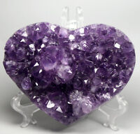 Natural URUGUAYAN AMETHYST GEODE CLUSTERS HEART CRYSTAL Specimen /Acrylic Stand