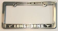 TEXAS LONGHORNS CAR TRUCK TAG FRAME SILVER BLACK LICENSE PLATE UNIVERSITY OF