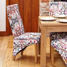Mobel Oak Full Back Floral Dining Chair Pair of 2
