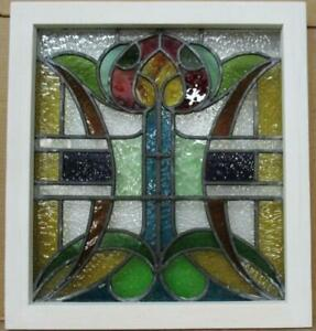 """OLD ENGLISH LEADED STAINED GLASS WINDOW Very Colorful Floral 18.75"""" x 20.5"""""""