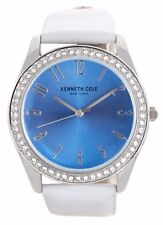Kenneth Cole Ladies Blue Dial White Leather Band Dress Watch 10031704 37mm