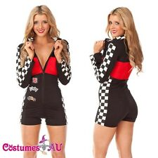 Miss Racer Racing Sport Driver Costume Super Car Grid Girl Red Ladis Fancy Dress