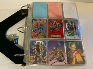 Large Binder of 1991-1995 Comics Trading Cards Marvel DC Wildcats Masterpiece