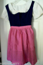 VTG Original German Austrian Oktoberfest Dirndl Dress Blouse Apron Costume Sz 40