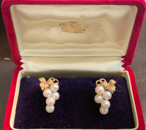 14kt Gold MIKIMOTO 5mm Cultured Pearl & French Back Cluster Earrings 6.4 Grams
