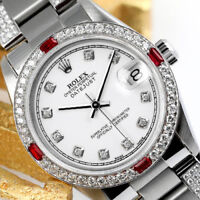 Rolex 31mm Datejust Watch White Color Dial with Ruby & Diamond Bezel Oyster Band