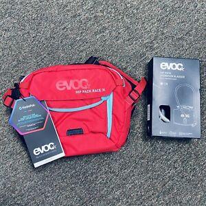 EVOC Hip Pack Race 3L Hydration Bag Bladder Included Color: Red-neon Blue