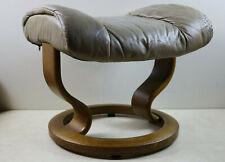Ekornes Stressless Leather & Teak Danish Footstool Ottoman Mid Century Modern
