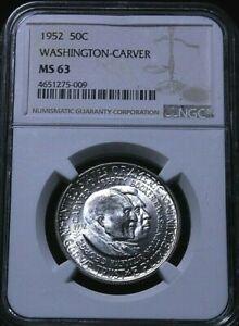 1952 Comemorative Half Dollar Washington CArver MS63 NGC graded  51-129