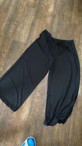 Bob Mackie Sophisticated Wide Leg Knit Pants Elastic Waist Black PL NEW A13112