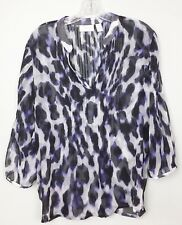 Chico's Womens Shirt Sheer Size 1 (M/8) V-Neck Long Sleeve Black Purple Gray