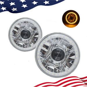 """5-3/4""""Inch Round LED Yellow SMD Halogen Crystal Projector Headlights Angel Eye"""