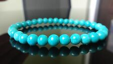 Genuine Turquoise Gemstone Bead Bracelet for Men (On Stretch) 6mm beads AAA - 8""