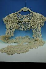 More details for antique victorian ornate schiffli duchess long collar ecru  c1870