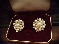 Vintage Jewellery Large Pearl Cluster Clip-on Earrings Gold Plated.
