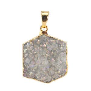 Hexagram Design Druzy Drusy  Agate Gemstone Yellow Gold Plated Necklace Pendants